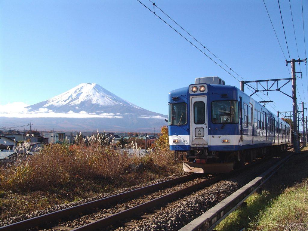 11月撮影の1000系電車と富士山